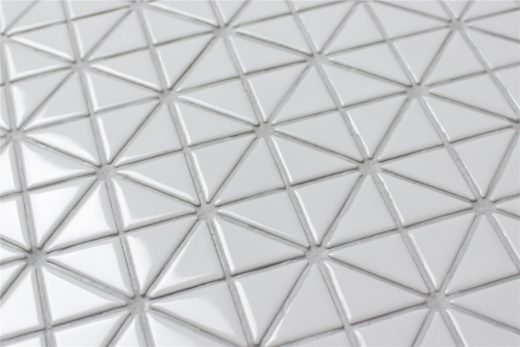 TR1-GW pure color white triangle tile mosaics
