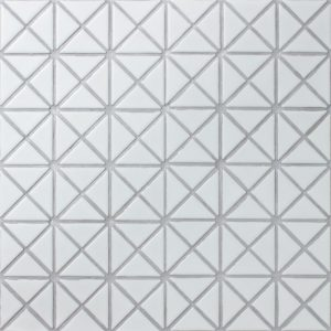 "1"" Pure Color Pattern Triangular Matte White Porcelain Mosaic Tile"