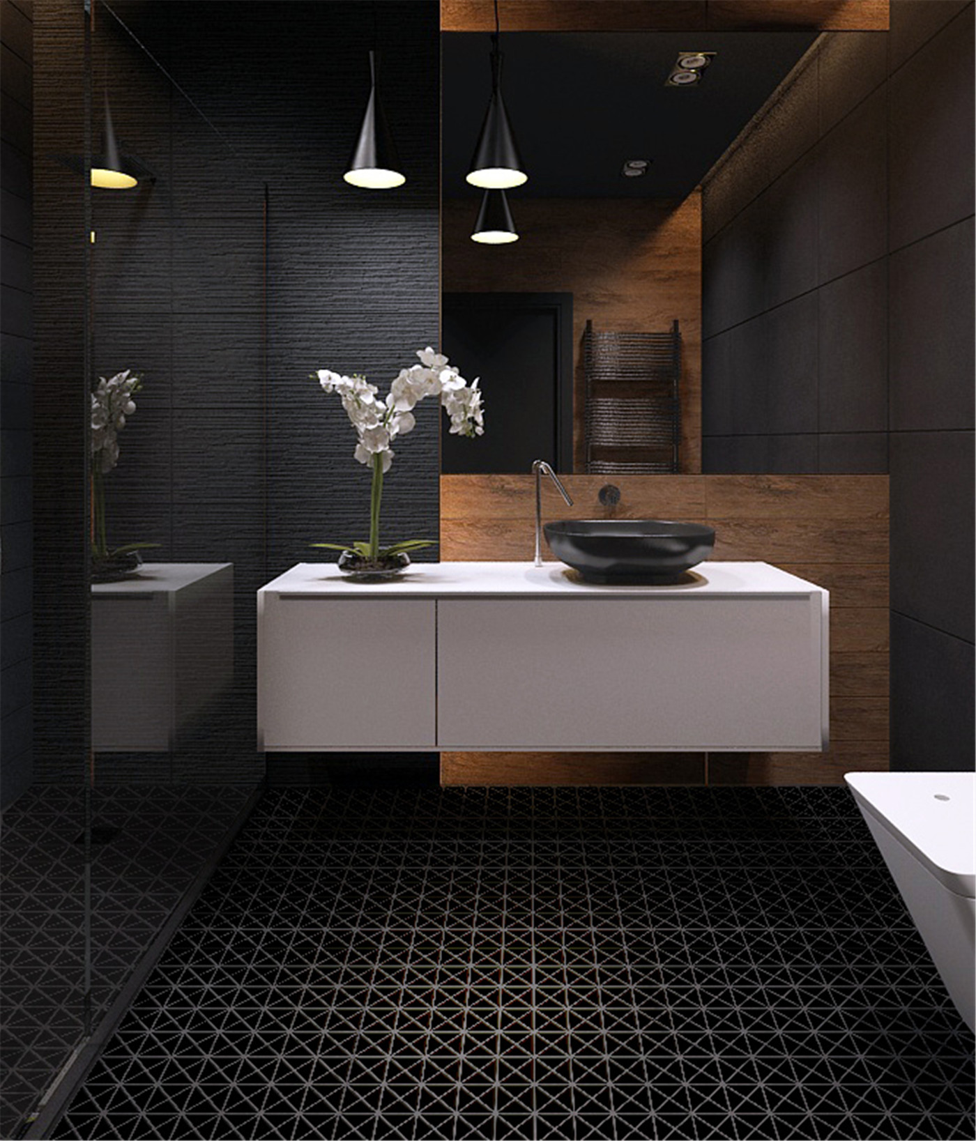 2 39 39 pure black matte porcelain triangle mosaic floor tile bathroom design ant tile Interior design black bathroom