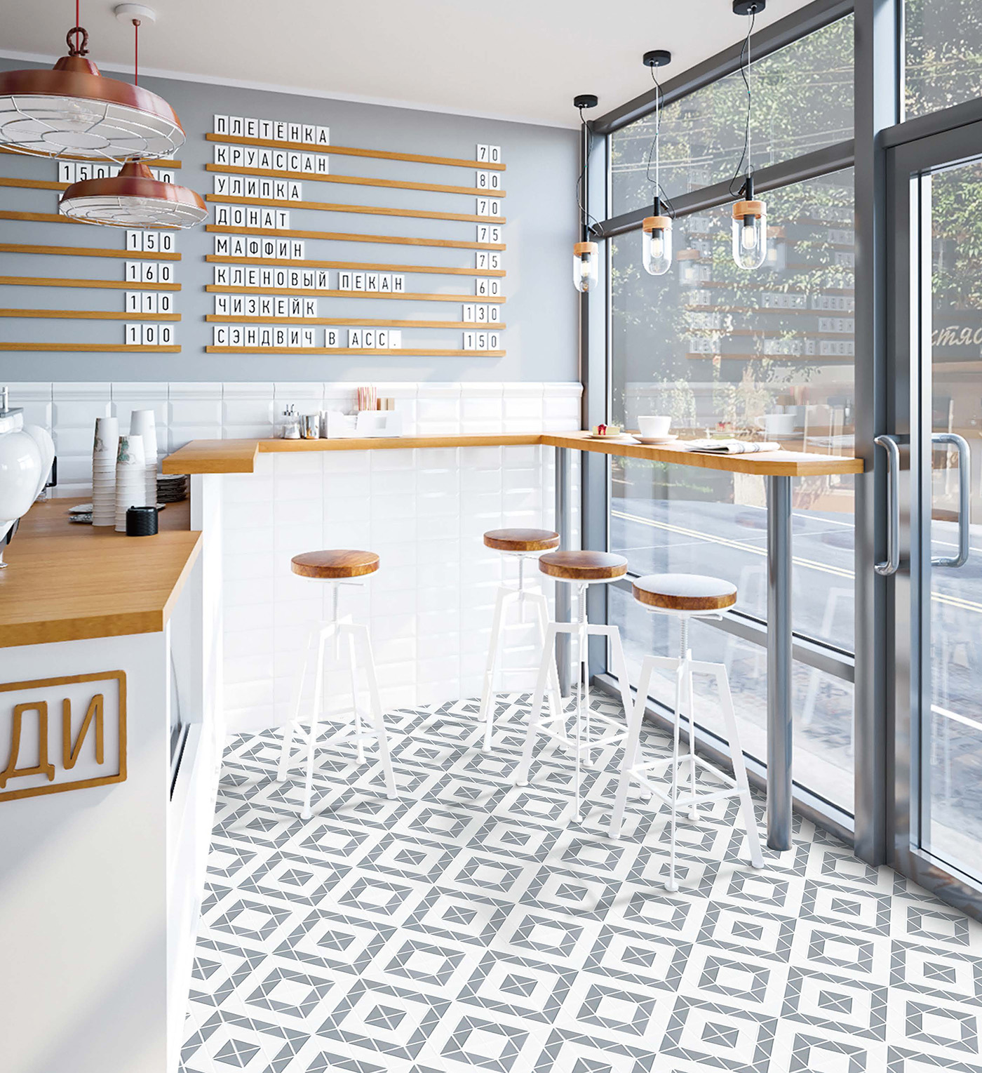 tr2 mwg dd02c_gray white geometric tile cafe shop floor decor