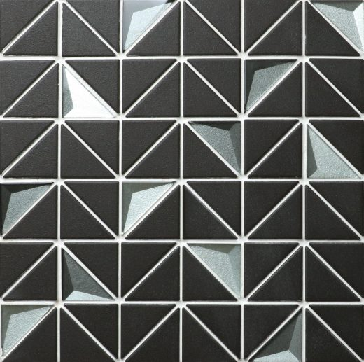 2'' Triangle Unglazed Black and 3D Glass Triangle Tile, Kitchen Tile