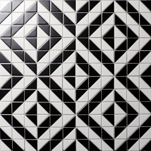 High Quality White Black Triangle Tile Mosaic, Porcelain Kitchen Backplash Tile