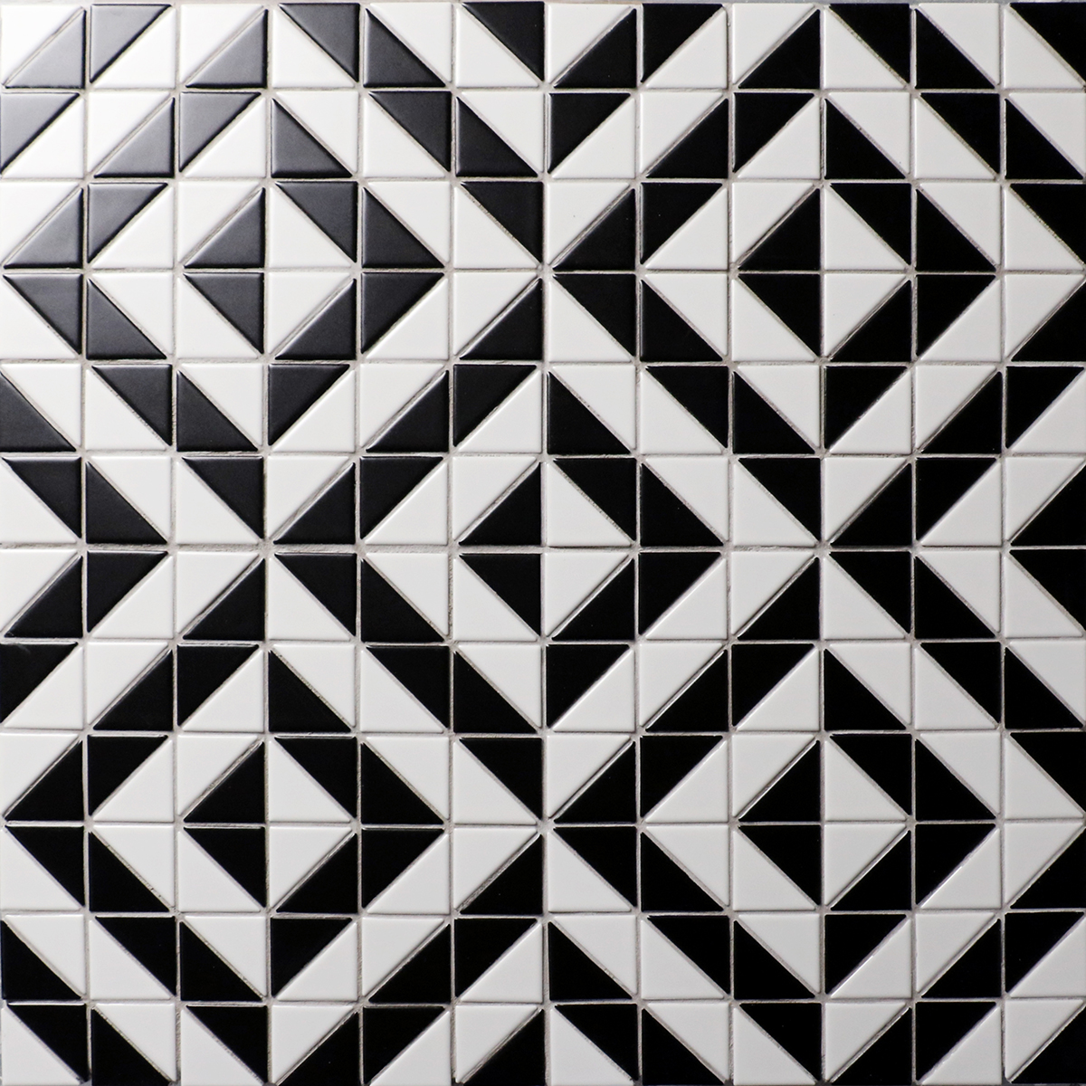 High Quality White Black Triangle Tile Mosaic Porcelain