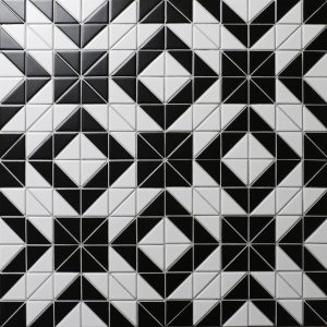 Cheap Price 2'' Black White Triangle Tile, Porcelain Floor Tile Patterns Online
