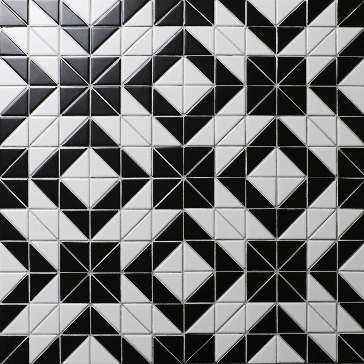 Artistic 2 Black White Triangle Tile Porcelain Floor Tile