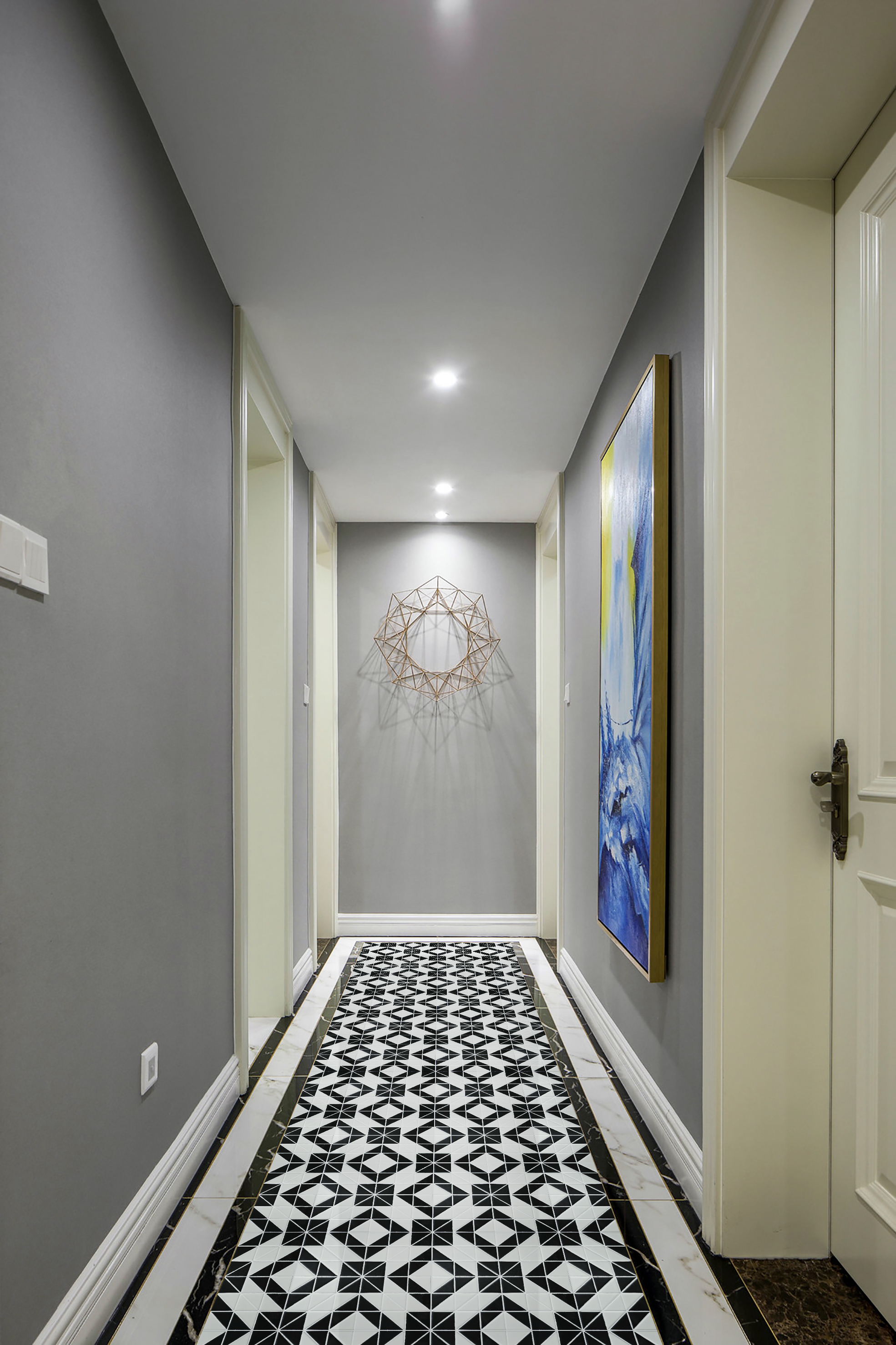 Artistic 2 Black White Triangle Tile Porcelain Floor