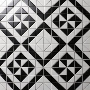 Buy 2'' Matte Black White Triangle Tile, Porcelain Backsplash Tile for Sale