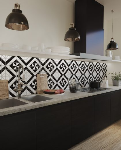 Windmill series black white triangle artistic tiles for backsplash