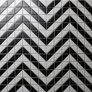 Cheap 2'' Matte Black White Triangle Tile Design, Porcelain Bathroom Tile for Sale