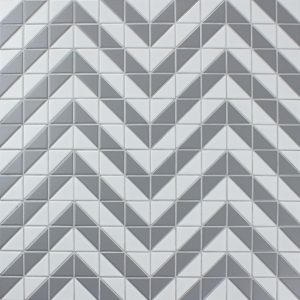 Low Price 2'' White Grey Triangle Triangle Tiles Mosaic, Porcelain Bathroom Tile