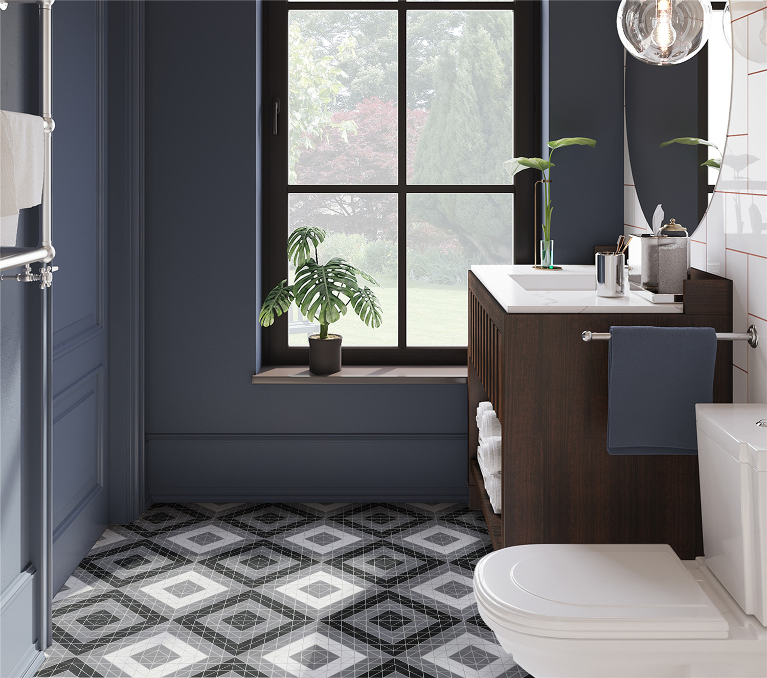 Bathrooms ant tile triangle tiles mosiacs floors for Bathroom design 2019