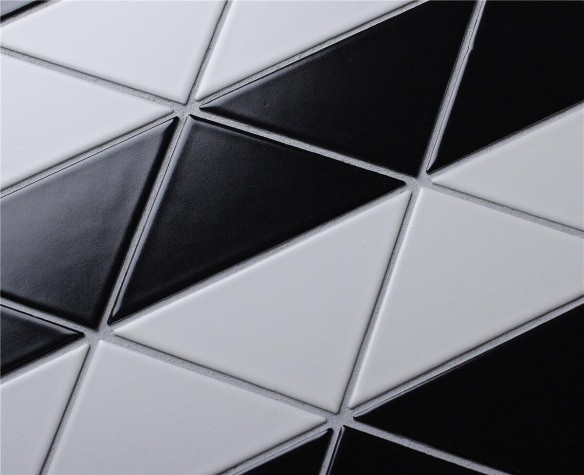4 Quot Fiddle Pattern Black White Matte Porcelain Geometric
