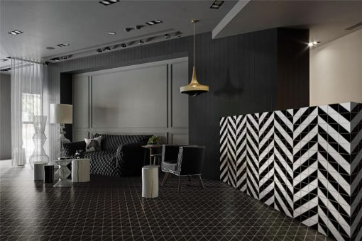 T4-MB-PL_black matte geometric triangle tile used in floor design