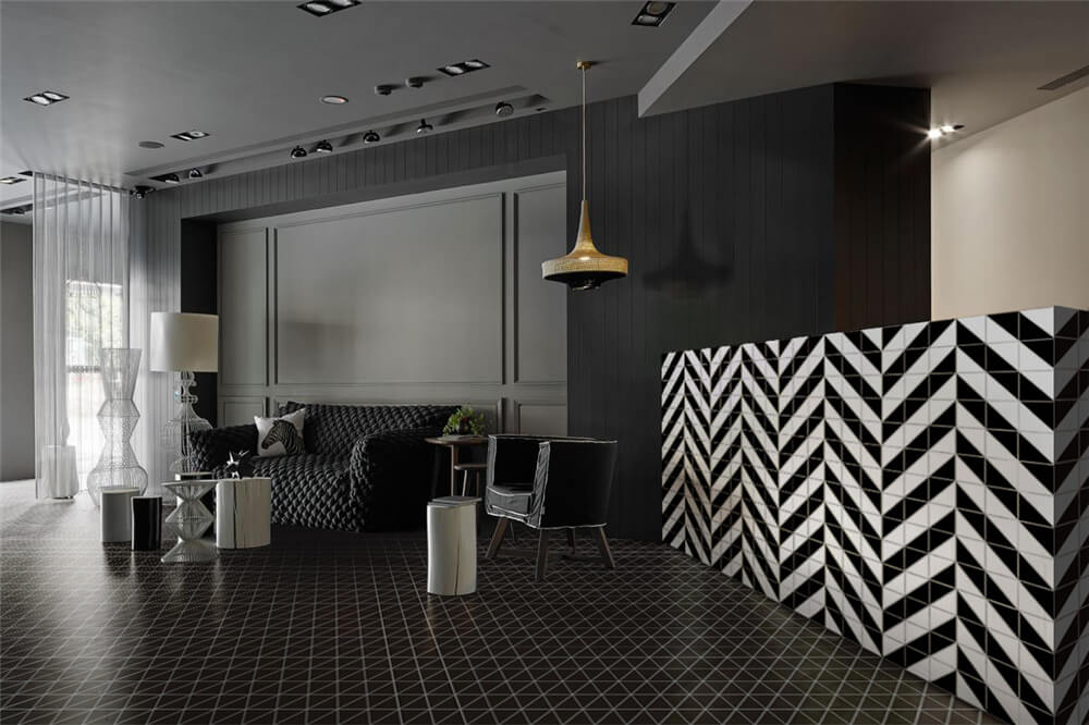 4 Linear Matte Black Triangle Tile Pattern For Floor Designs Ant