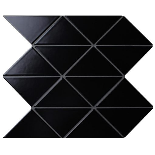 "T4-MB-PZ_4"" Zip Connection Matte Black Triangle Tile Mosaic"