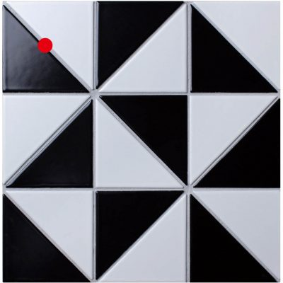 "T4-MB-WM_4"" Windmill Pattern Black White Matte Porcelain Geometric Tile"