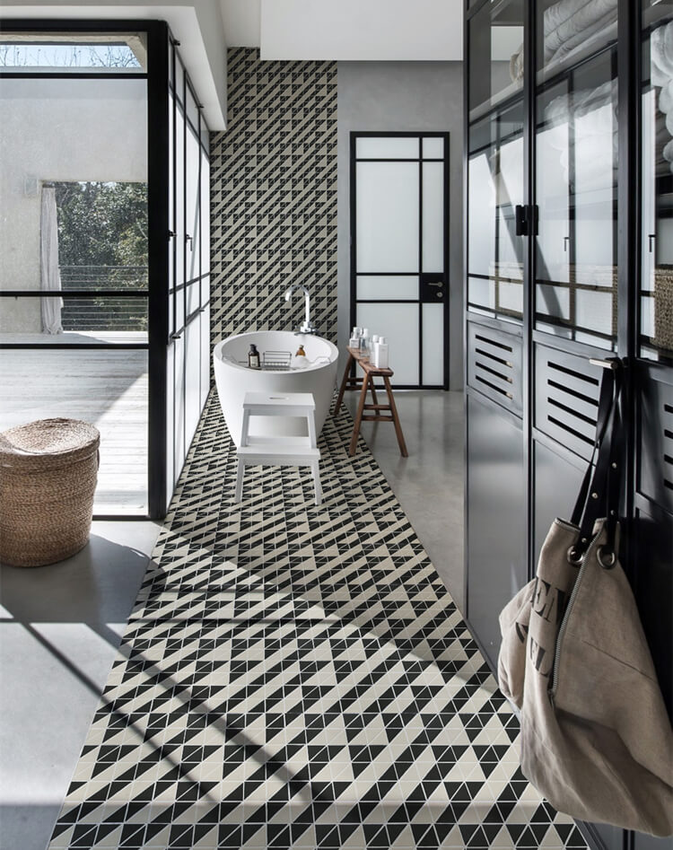 Bathroom floor decor with geometric mosaic tiles patterns