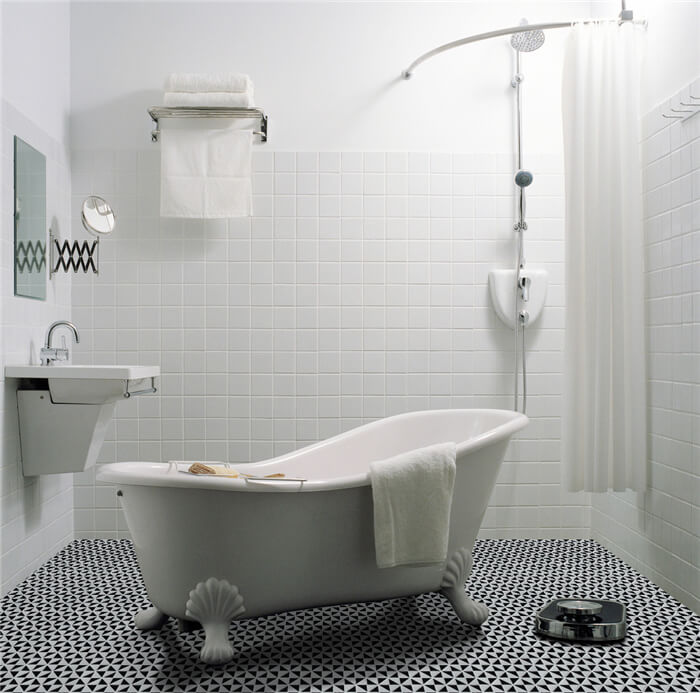 Cool black white bathroom design with windmill pattern tile