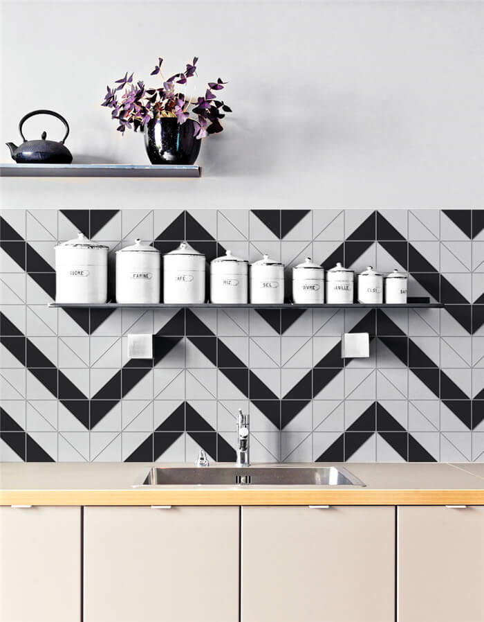 "4"" black and white zig zag tiles backsplash decor T4-MB-RL"