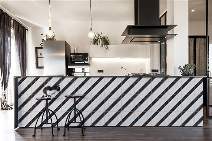 geometric kitchen tiles for big kitchen island design