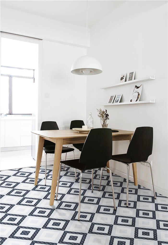 geometric porcelain floor tiles for neat dining areas